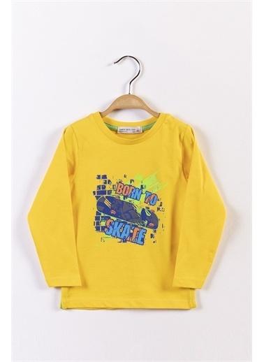 Toontoy Kids Toontoy Erkek Çocuk Kaykay Baskılı Tişört Sarı